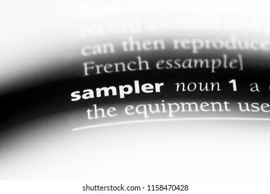 sampler word in a dictionary. sampler concept.