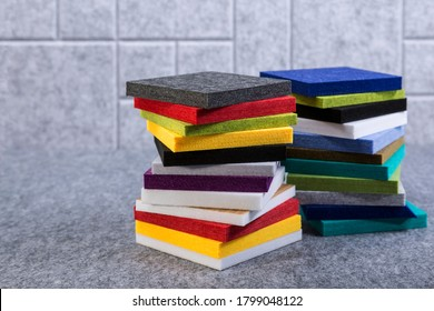 Samples of acoustic polyester material in different colors