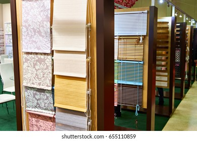 Samples of blinds for windows in the store
