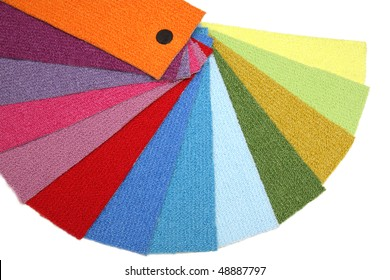 Samples of carpet coverings on a white background