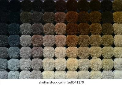 Samples of carpet in various colors.