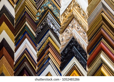 Samples of classic wooden frames, choise of painting canvases