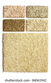 Samples of collection carpet on a white background