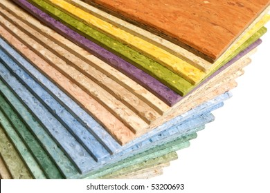 The samples of collection multicolored linoleum