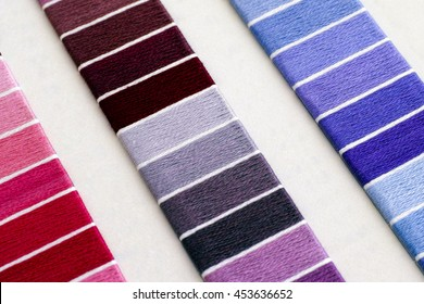 Samples of colored cotton thread