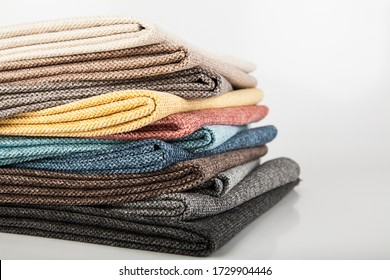 Samples of colored material, fabrics
