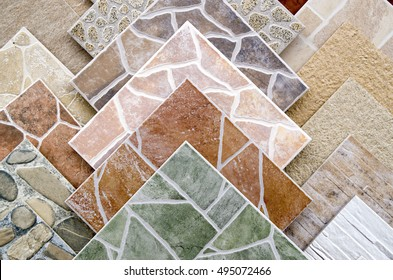 Samples Of A Colorful Ceramic Tile Closeup In Shop