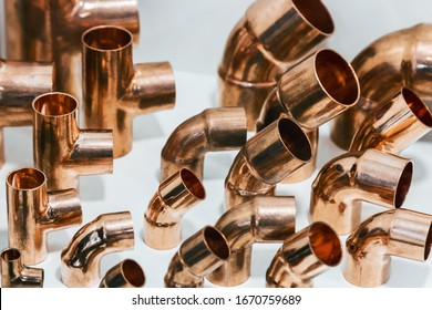 samples of copper tubes and copper parts for connections