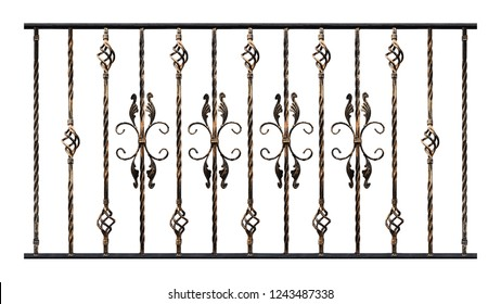 Samples of forged products isolated on white background, gilding effect. Decoration element of stairs handrails or balcony. Elements for designer work