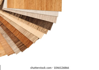 Samples of laminate and vinyl floor tile on isolate background. Isolate wood texture floor :oak , maple , chestnut tile, walnut tile, balsam tile. Surface texture of laminate, vinyl, ,