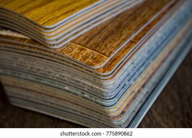 Samples of linoleum , the floor covering sample.