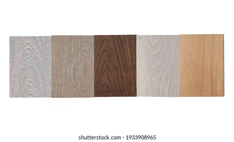 samples of material, multi color of oak wood engineering flooring samples ,click-lock type ,isolated on white background with clipping path. interior wooden floor catalog.
