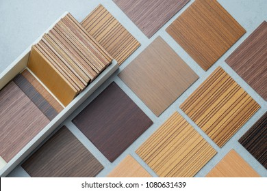 samples of material, wood , on concrete table.Interior design select material for idea.
