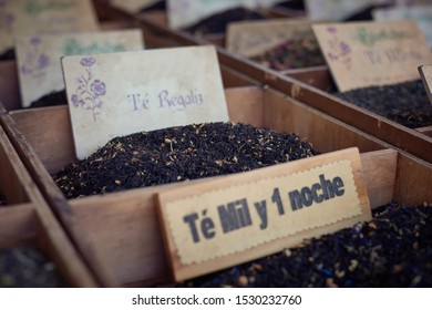 samples of medicinal herbs and infusions, healthy living concept and alternative medicine