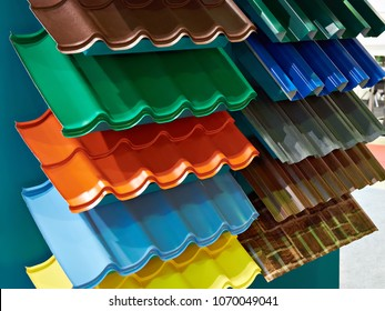 Samples of metal tiles roof in the building store