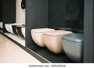 samples of modern sanitary ware for the toilet. new modern toilet in the plumbing store