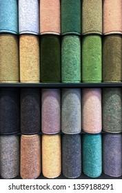 Samples of new carpet at a homeware store