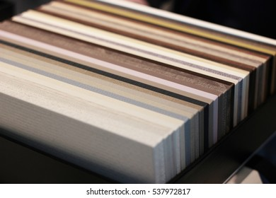 Samples of pieces of furniture boards in box