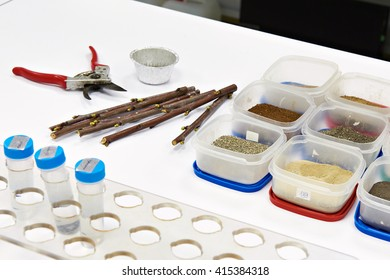 Samples for research on white table in biochemical laboratory