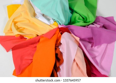 samples of sewing fabric of different colors