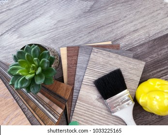 Samples stack catalog set of wooden vinyl flooring  for matching home interior design idea