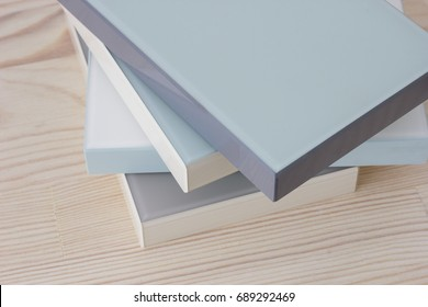 Samples of veneer wood on white wood background