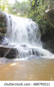 Samrongkiat waterfall  ,the medium size waterfall  ,Si Sa Ket ,Thailand.