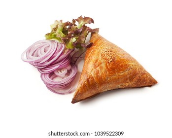 Samsa and onion slices, isolated on white background