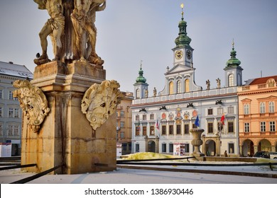 Samson Fountain on the central square of Ceske Budejovice Budweis Czech Republic with Town Hall