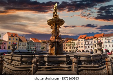 Samson Fountain on the central square of Ceske Budejovice. Czech Republic.