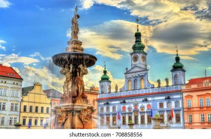 Samson Fountain on the central square of Ceske Budejovice Czech Republic