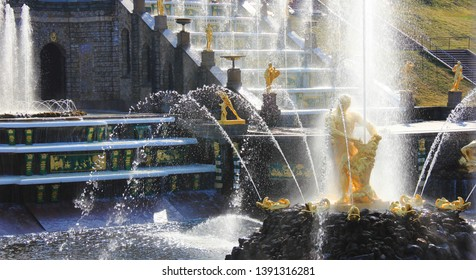Samson fountain at Peterhof Palace. Men figure tearing open a lion's jaws in Peterhof, Russia on May 1, 2019