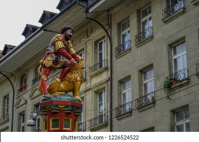 Samson and Lion Fountain in Kramgasse Street at Bern, Switzerland