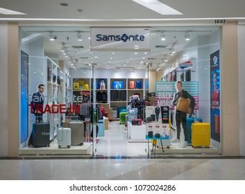 Samsonite shop at Fashion Island, Bangkok, Thailand, Mar 22, 2018 : Fashionable brand of traveller luggage display and interior.