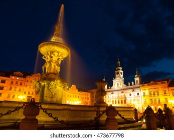 Samsons's Fountain on main square in Ceske Budejovice by night, Southern Bohemia, Czech Republic