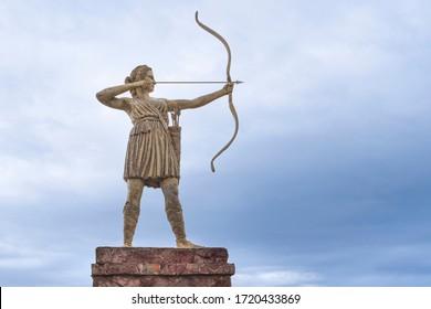 Samsun  Turkey - August 04 2019:  Amazon girl statue with bow and arrow.