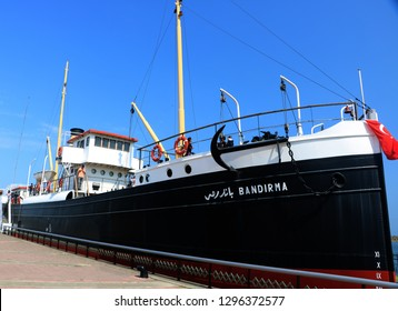 Samsun, Turkey - August 27 2018: People are visiting Bandirma Vapuru (Steamboat) Museum.