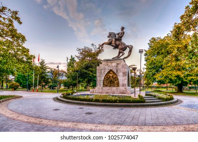 Samsun, Turkey - Fabruary 14, 2017 : Ataturk Statue HDR view in Samsun. Ataturk was founder of Modern Turkey.
