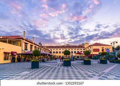 Samsun, Turkey - February 15, 2017 : Cumhuriyet Square panoramic view at sunset in Samsun. The square has modern shopping center.