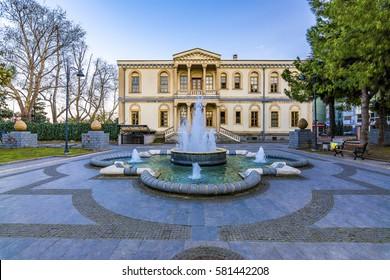 Samsun, Turkey - February 15, 2017 : A historical building at Ataturk Park in Samsun. Samsun is the biggest city in Karadeniz Region.