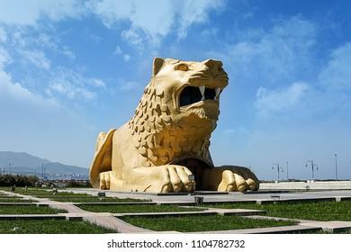 Samsun, Turkey - June 2, 2018 : Amazon Park view in Samsun. Lion sculpture.