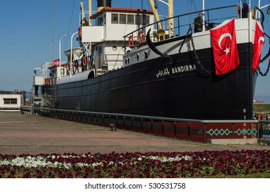 Samsun, Turkey - November 19, 2016: SS Band?rma ship which became famous for her historical role in taking Mustafa Kemal Pasha (Ataturk) from Istanbul to Samsun in May 1919.