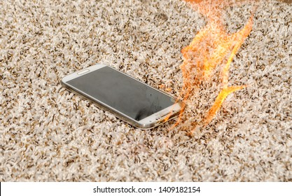 Samsung cell phone on fire on carpet