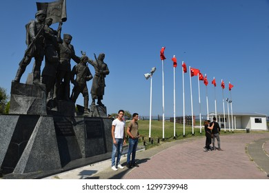 Samsun,Turkey - August 25,2018 :Samsun city center, Turkish flag and Bandirma ship