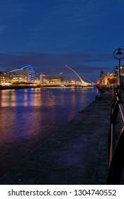 Samuel Beckett Bridge in Dublin City Centre at night