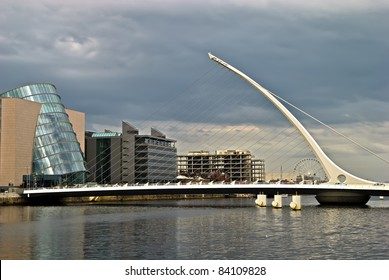 Samuel Beckett Bridge, Dublin, Ireland - pointing to Dublin Convention center