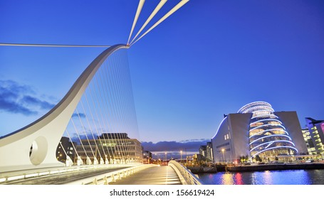 Samuel Beckett Bridge in Dublin in summer time