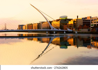 The Samuel Beckett Bridge on the River Liffey in Dublin, Ireland.