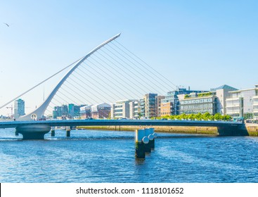 Samuel Beckett bridge over river Liffey in Dublin, Ireland