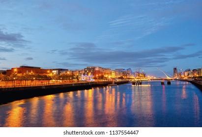 Samuel Beckett Bridge and the river Liffey in Dublin City